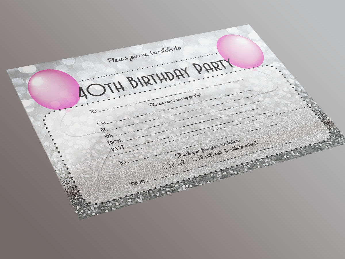 40th Birthday Party Invitation 20 A5 Pack