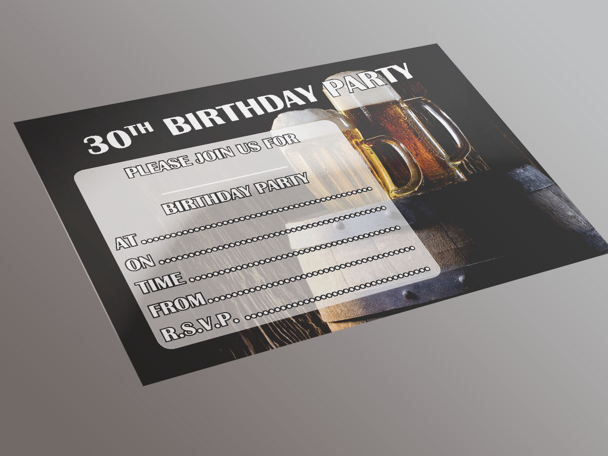Mens 30th Birthday Party Invite