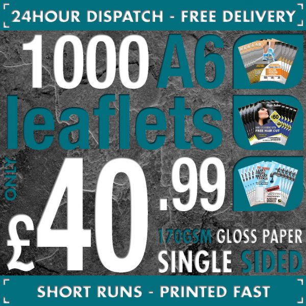 Full Colour A6 Flyers // Leaflets SINGLE SIDED 170gsm Gloss 24hr Dispatch