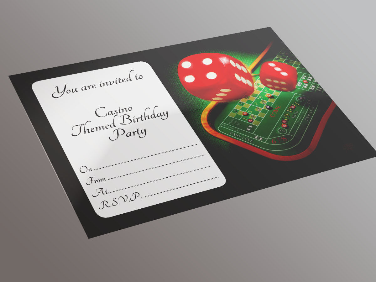Casino Themed Birthday Party Invite 20 A5 Invitation Pack