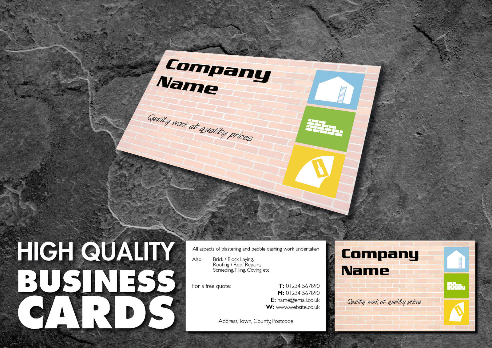 Full colour double sided business cards for builders incdesign full colour double sided business cards reheart Gallery