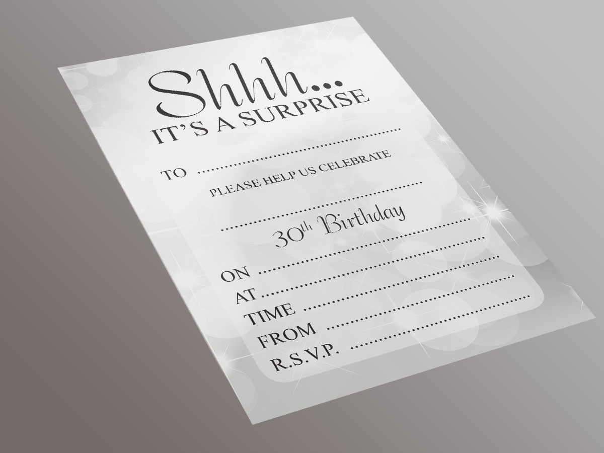 Surprise 30th Birthday Party - 20 A5 Invitation Pack - 1st For Print